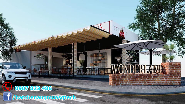 Lắp bạt che quán cà phê tại Tp HCM